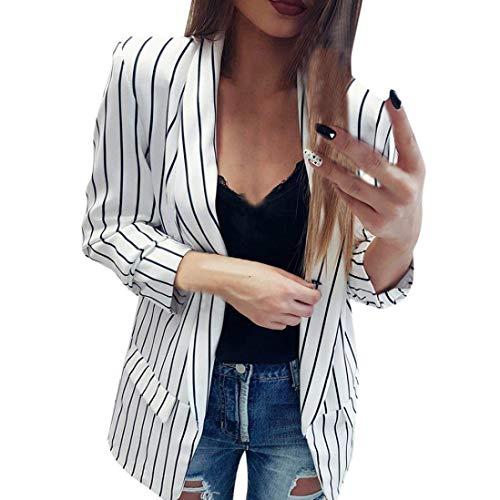 Adelina Long Blazer kraag Dames vrouwen Zwart Wit gestreepte waterval Coat vrijetijdsjas Fashionable Completi Blazer Dames jas jas herfst winter