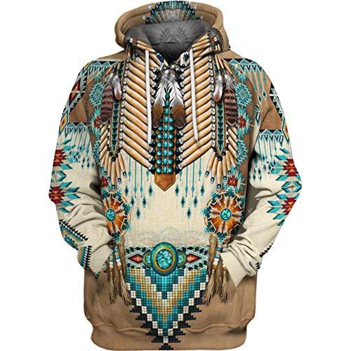Native Indian 3D Hoodies/Sudaderas Hombres Mujeres Moda con Capucha Invierno Otoño Manga Larga Streetwear...