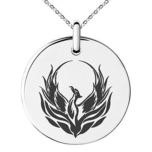 Tioneer Stainless Steel Greek Mythology Phoenix Symbol Small Medallion Circle Charm Pendant Necklace