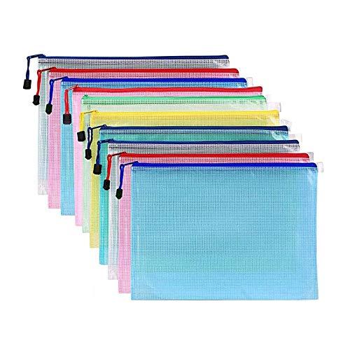 Mesh Document Bag A3 Size Duralble Plastic Zipper File Wallet, Pack of 10