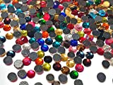 Perlin 1000 Stück Hotfix Strasssteine Mix Farben Größenauswahl 3mm 4mm 5mm Bunte AAA Qualität zum Aufbügeln Glitzersteine Rhinestone Selbstklebend Mehrfarbiges (3,6mm ~ 4mm SS16)