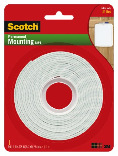 Scotch Brand 112L Permanent Mounting Tape, 1 in x 125 in, White (packaging may vary)