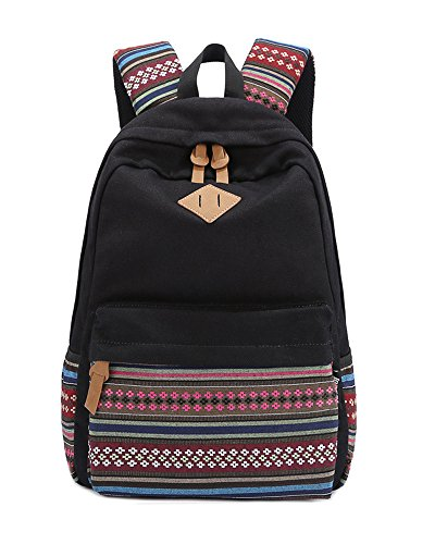 Minetom Lona Backpack Mochilas Escolares Mochila Escolar Casual Bolsa Viaje Moda Estilo Étnico Lunar Del Mujer Negro Clear One Size(28 * 12 * 42 Cm)