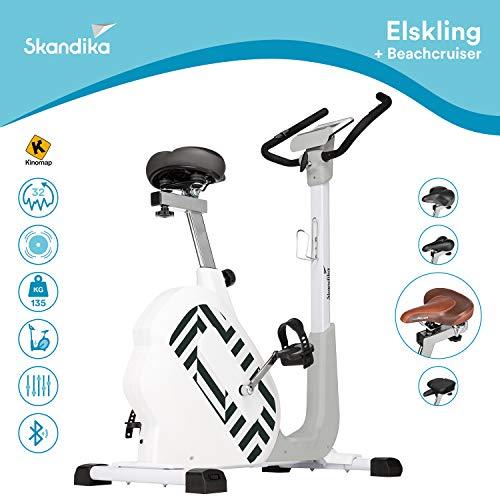 Skandika Elskling - Cyclette/Ergometro - Selle Diverse - 24 Prog. - 32 Livelli Resistenza - Bluetooth + Applicazioni (Bianca con Sella Beachcruiser)