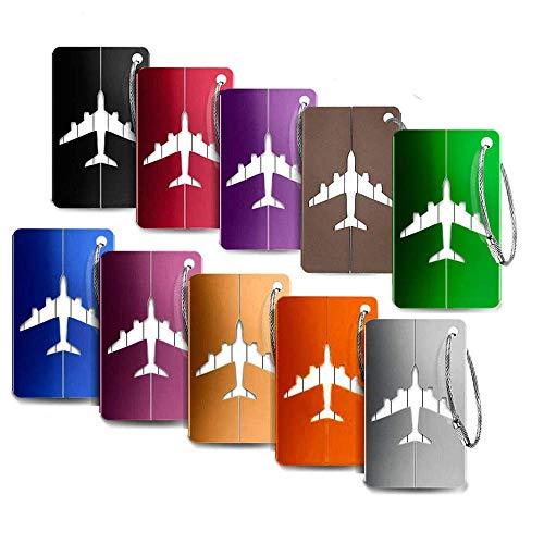 Bagages Étiquettes Aluminium Avion modèle Voyage Bagages étiquettes Valise avec Cordes en Acier Inoxydable 10 Pièce Mix Couleurs Accessoires Voyage (10 Couleurs)