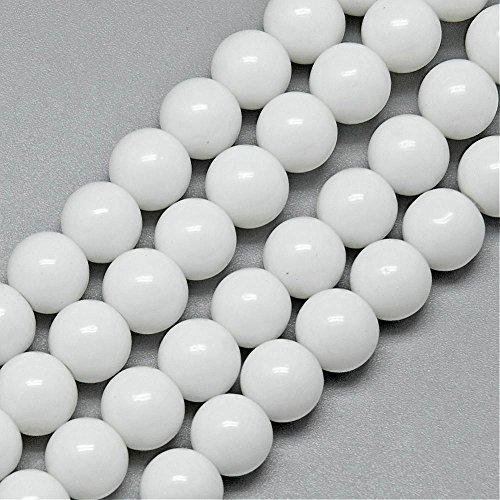 Weiß Jade Perlen Halbedelstein 4mm MATT RUND 80Stk Edelstein Strange Gemstone Beads G50