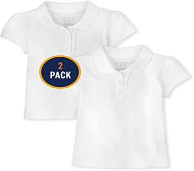 White 4T The Childrens Place Baby Girls Toddler Uniform Ruffle Pique Polo