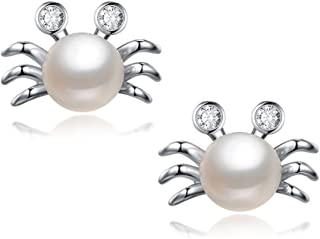 Cute Pearl Crab Zircon Earrings Stud Korean Style Casual Fashion Ladies Jewelry for Women and Girls