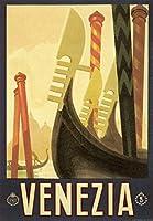 I.F.I ポスター/ラッピングペーパー 50×70 ヴェネツィアのゴンドラ VENEZIA GONDOLE CR035