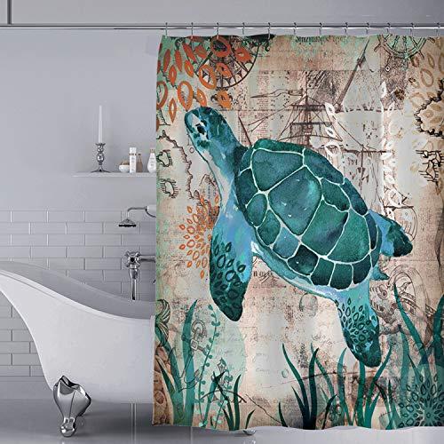 YISUN Anti-Schimmel Duschvorhang, Anti-Bakteriell Duschvorhang, waschbar mit 12 Duschvorhangringen (Blau)