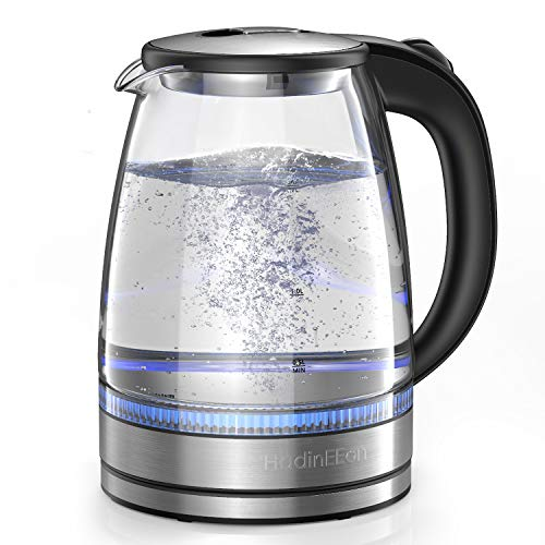 HadinEEon Electric Kettle 1.7L Glass Electric Tea Kettle (BPA Free) Cordless Teapot, Portable Electric Hot Water Kettle with Auto Shutoff Protection, Stainless Steel Lid & Bottom-Metal Silver