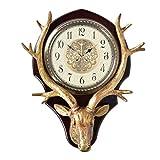 reloj de pared CWT Estilo Europeo Sala de Estar Reloj atmósfera Cabeza de Ciervo Personalidad Creativa Moda decoración Americana hogar Mute Art Clock (Color : Gold-b, Size : 20 Inches)
