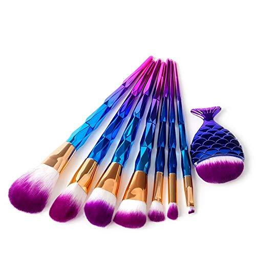 MEISINI Makeup Brush Set Foundation Powder Eyebrow Contour Brush Rainbow Brush Beauty Make Up Tools Kit, Blue