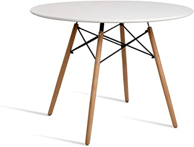 Artiss Round Dining Table 4 Seater 100cm White Eames DSW Cafe Kitchen Retro Timber Wood MDF Tables