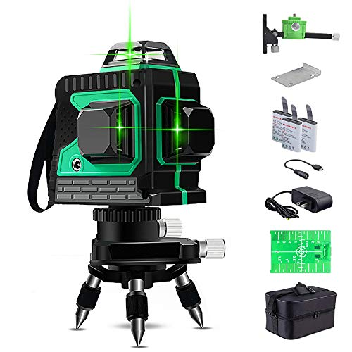 Laser Level, 3 x 360 Green Laser Level Self Balancing, Green Beam 3D 12 Lines, IP 54 Self Leveling Vertical and Horizontal Line (Including 3pcs Battery)