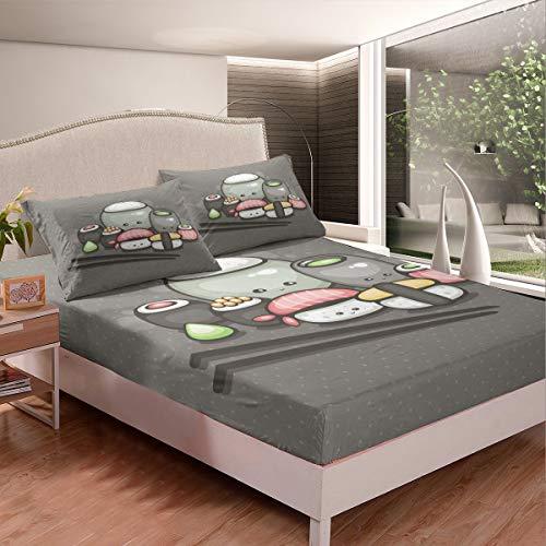 Juego de sábanas de estilo japonés con diseño de sushi para niños, niñas, niños, adolescentes, dormitorio, cubierta de cama de celosía gris con 1 funda de almohada