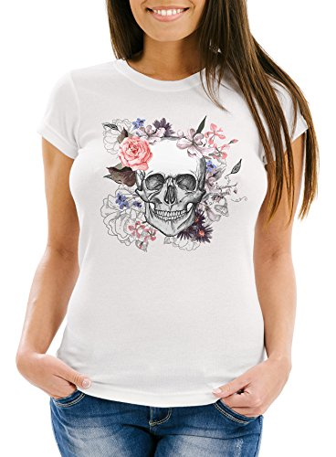 Neverless Damen T-Shirt Totenkopf Blumen Flower Skull Boho Schädel Slim Fit weiß M