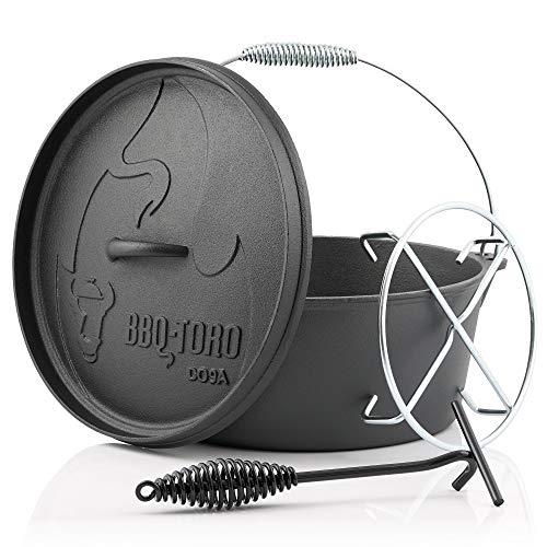 BBQ-Toro Dutch Oven Alpha Serie I bereits eingebrannt - preseasoned I Verschiedene Größen I Gusseisen Kochtopf I Bräter mit Deckelheber (DO9A - 7,2 Liter, Topf ohne Füße)