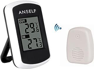 Anself TS04 - Reloj Termómetro Digital Medidor de Temperatura Exterior Interior (Inalámbrico,LCD Pantalla