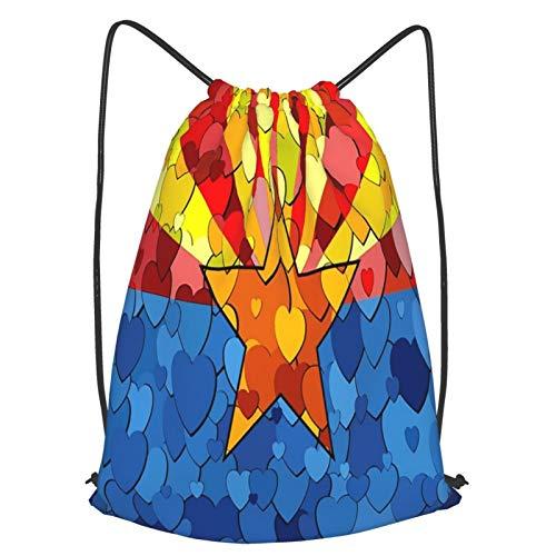 Olverz Mochila con cordón de corazón en rojo impermeable bolsa de gimnasio grande cadena plegable Cinch Bag Sackpack para senderismo al aire libre camping playa M