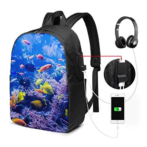 Borsa per zaino per laptop Bellissimo mondo subacqueo Zaino per laptop di grandi dimensioni con porta di ricarica USB e porta per cuffie per viaggi di lavoro universitari