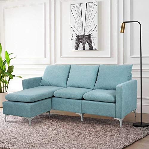 HOMEFUN Sectional Couch Sofa, Linen Convertible L Shaped Couch with Ottoman and Chaise Lounge Sofa Sets for Living Room Modern Upholstered with Metal Legs, Mint Green