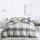 SUSYBAO 3 Pieces Duvet Cover Set 100% Natural Washed Cotton Queen Size 1 Duvet Cover 2 Pillowcases Luxury Soft Breathable Comfortable Durable Green and Brown Checkered Plaid Bedding with Zipper Ties
