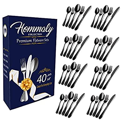Black Silverware Set Colorful Stainless Steel flatware Dinnerware Set, black Tableware Set for 8, 40 piece flatware Set Service for 8, Mirror Finish Black Cutlery Set (Black40)