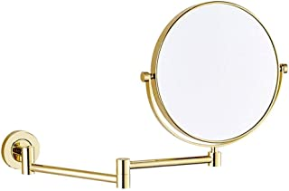 Makeup Mirror, Wall Mounted 10X Magnification Bathroom Shaving Mirror Double-Sided Round 360°Swivel Design Extendable Bathroom Mirror, Gold, 8 Inch