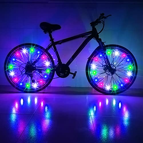 CDYKLCB Bike Wheel Lights, LED Spoke Two Tires Lights Super Bright Waterproof Cycling Bicycle Light Decoration Ultra Bright from All Angles Tire Strip Light (Multi Colors)