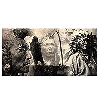 アメリカインディアンの肖像画の装飾的なキャンバス絵画ポスター動物印刷HDは、ピクチャーホームリビングルームの背景ウォールアートは、塗装なしのフレームを印刷しません,50×100cm