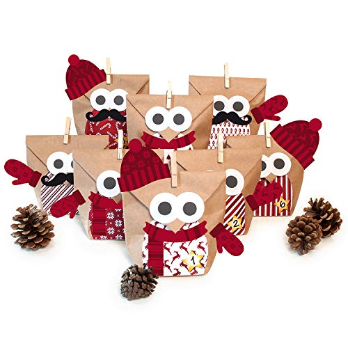 pajoma Adventskalender Zum Befüllen Weihnachtseule Mit Extras, Bastelset Eule Owl DIY, 24 Beutel Kraftpapier Tüten 14x22cm (Rot mit Extras)