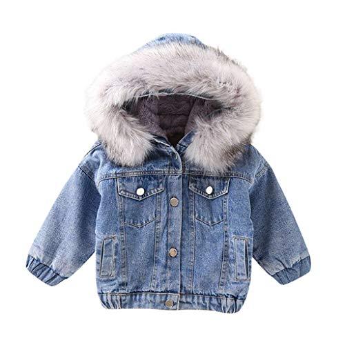 Deloito Kleinkind Baby Jeansjacke Herbst Winter Kinder Mädchen Denim Outwear mit Kapuze Faux-Pelz Vlies Warmer Steppjacke Pelzkragen Starker Mantel (Grau,100/2-3 T)