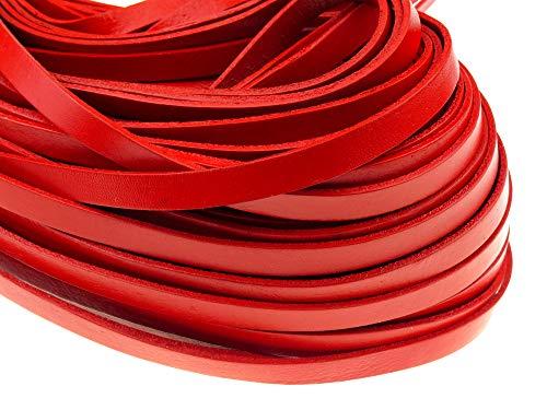 esnado Banda de cuero plana 10 mm x 2 mm rojo – 5 metros