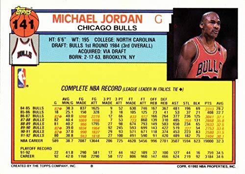 1992-93 Topps #141 Michael Jordan Basketball Card - 1st Topps Card