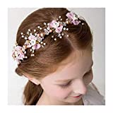 Campsis Lovely Pearl Princess Headpiece Bow-knot Tiara First Communion Hair Accessories for Women and Girls and Bridal (Pink)