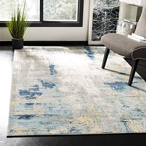 Safavieh Jasper Collection JSP101A Modern Abstract Non-Shedding Living Room Bedroom Dining Home Office Area Rug, 5'3' x 7'6', Grey / Gold