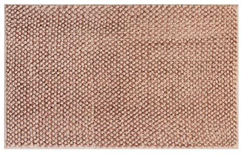 Brandsseller Alfombra de baño de chenilla, aprox. 50 x 80 cm, alfombra de baño alta/redonda, color gris