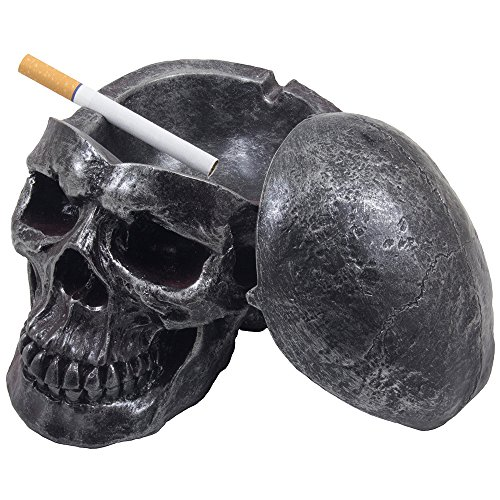 Spooky Human Skull Ashtray with Cover for Scary Halloween Decorations and Decorative...