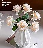 Unbreakable Vases for Flowers, HASPINH Geometric Plastic Vases Minimalist Style Ceramic Look ,Vase for for Home Decor, Living Room, Table White