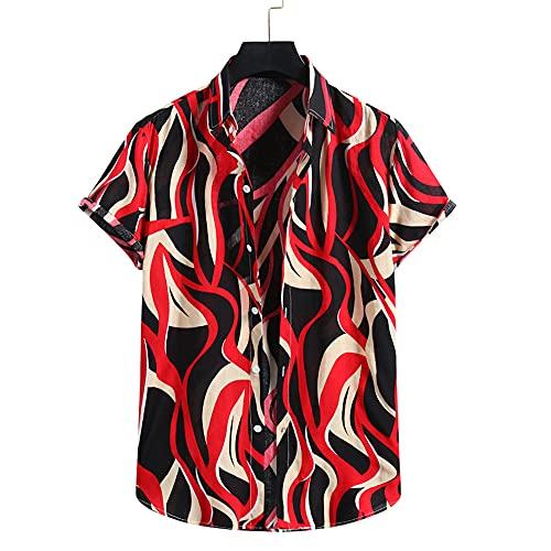 T-Shirt Hombre Verano Moda Estampada Hombre Ocio Shirt Transpirable Cuello Kent Tapeta con Botones Hombre...