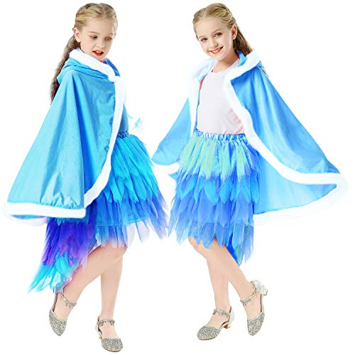 MINIWHALE Girls Princess Furry Hooded Cape Cloak Costume for Birthday Halloween Christmas Cosplay Dress up 3-12 Years Old- Blue