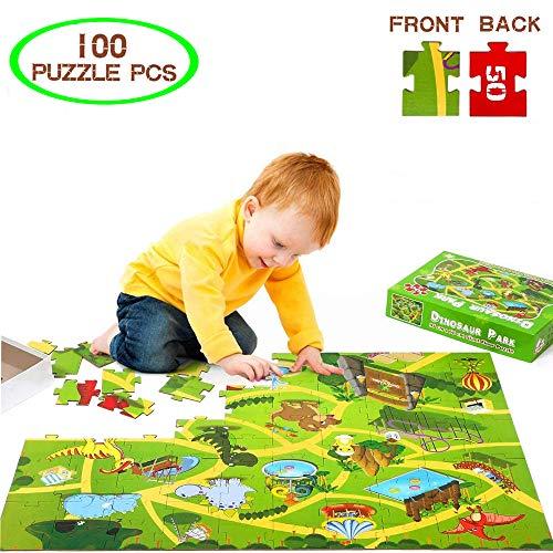 Creacom Dinosaur World Jigsaw Puzzle, 100Pcs Dinosaur World Jigsaw Puzzle Dinosaur Kids Floor Puzzle Toy Educativo