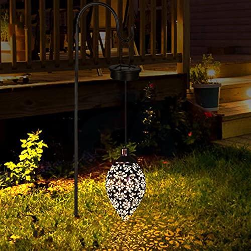 N-O Lámpara de araña de hierro hueco solar proyección rugby forma gota agua vista lámpara patio decoración
