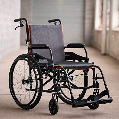 Feather Chair Featherweight Ultra Light 13.5 Pound Foldable Aluminum Wheelchair for Easy Transportation and Storage, Matte Black