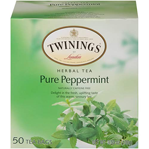Twinings of London Pure Peppermint Herbal Tea Bags, 50 Count (Pack of 6)
