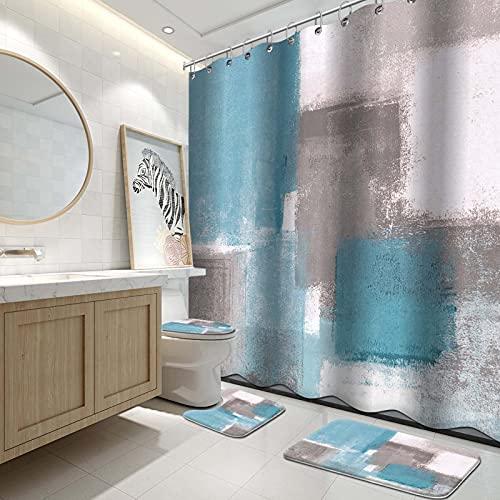 Lnond Badezimmer-Duschvorhang-Sets mit Vorlegern, himmelblau & grau weiß, abstraktes Gemälde, Badezimmer-Set mit Duschvorhang & Teppichen & Zubehör
