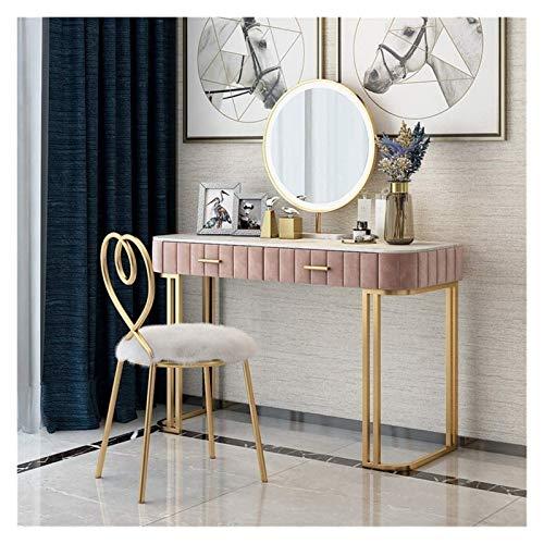 HLZY Escritorio de tocador para dormitorio, decoración del hogar, escritorio de maquillaje 2 en 1, mesa de tocador de mármol nórdico rosa con cajón y silla familiar (tamaño: 120 cm)