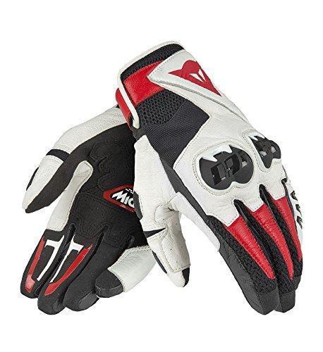 Dainese Mig C2 Gloves Guanti Moto Estivi in Pelle, Unisex - Adulto, Nero/Bianco/Rosso Lava, L