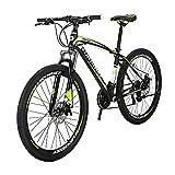 X1 Bicicleta de montaña para adultos 17 pulgadas marco de acero 27.5 pulgadas rueda freno de disco 21 velocidades sistema de engranajes suspensión delantera MTB bicicleta (Blackyellow)